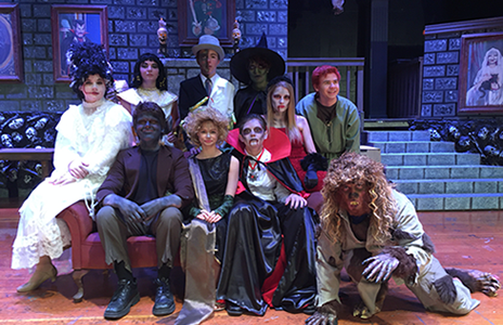 "Featured above are the ""monsters"" from 'Spook House'. Pictured left to right is: Bridie (Brooke Strausbaugh), Cleopatra (Jocelyn Borynski), Frank (Everett Gilbert), Jekyll & Hyde (Carl Aldinger), Serpentine (Lily Hart), Hazel (Emma Retzlaff), Countess Dracula (Brooke Meyer), Count Dracula (Dylan Kiener), H.B. (Ian Johnson), and Harry (Joe Wallace) on the set of 'Spook House'."