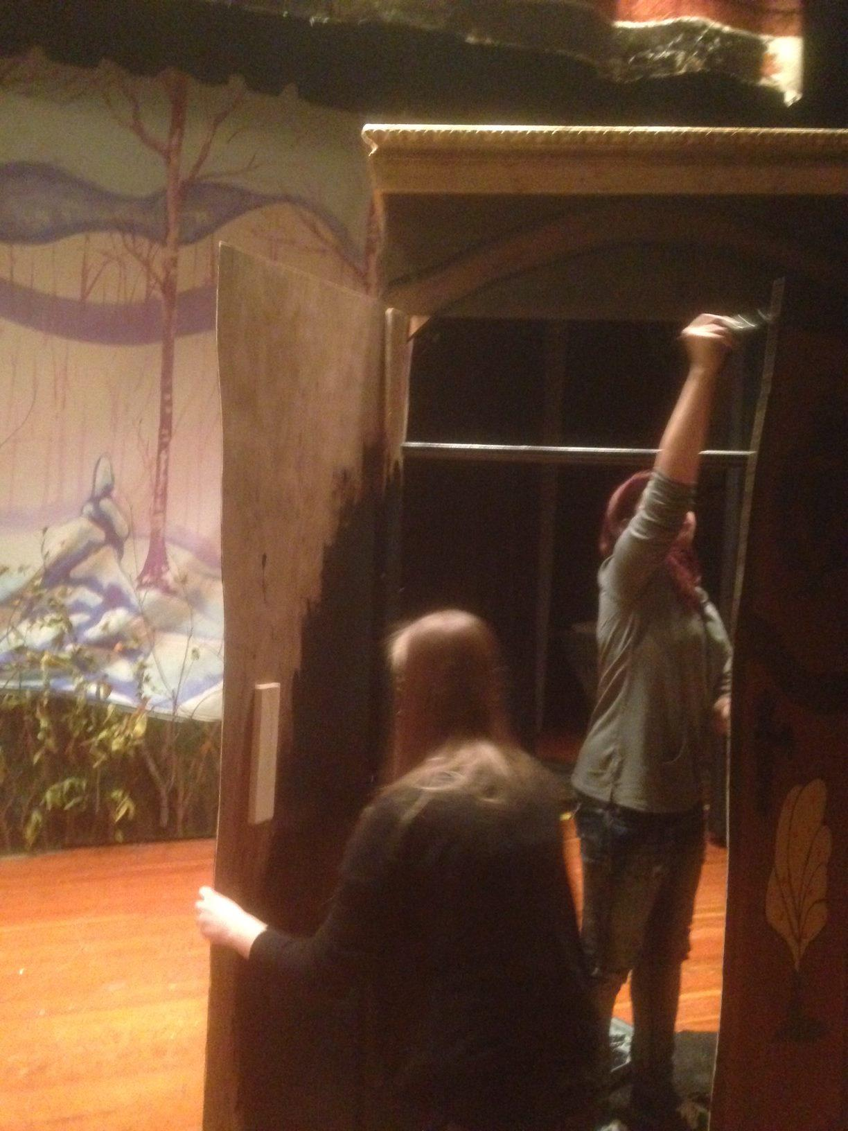 2014- Stage Crew paints the wardrobe from 'The Lion, the Witch, and the Wardrobe'